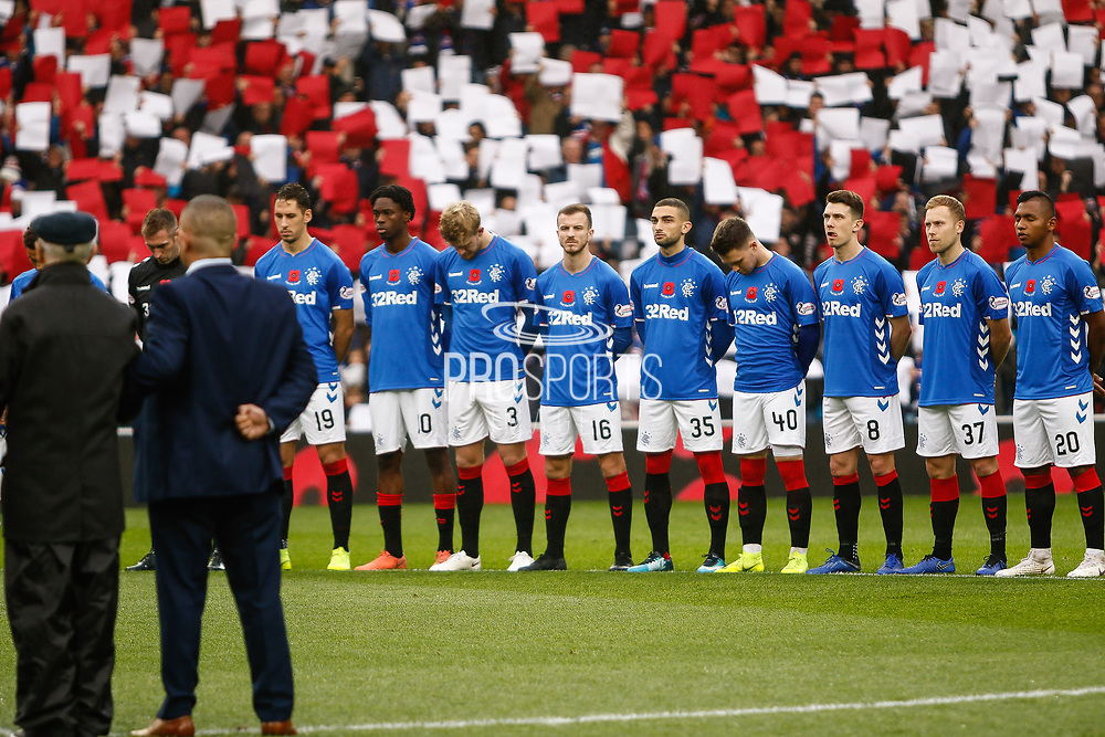 Rangers pay their respects on Remembrance Sunday ahead of the Ladbrokes Scottish Premiership match between Rangers and Motherwell at Ibrox, Glasgow, Scotland on Sunday 11th November 2018.