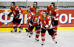 SOFRON István of Hungary, HOLÉCZY Roger, SZIRÁNYI Bence of Hungary, MAGOSI Bálint of Hungary and SILLE Tamás of Hungary celebrate at IIHF Ice-hockey World Championships Division I Group B match between National teams of Hungary and Poland, on April 18, 2010, in Tivoli hall, Ljubljana, Slovenia.  (Photo by Vid Ponikvar / Sportida)