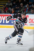 KELOWNA, CANADA - DECEMBER 4: Gordie Ballhorn #4 of Kelowna Rockets passes the puck against the Medicine Hat Tigers on December 4, 2015 at Prospera Place in Kelowna, British Columbia, Canada.  (Photo by Marissa Baecker/Shoot the Breeze)  *** Local Caption *** Gordie Ballhorn;