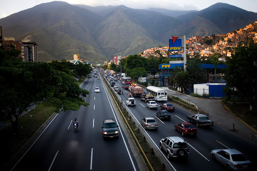A general view of Caracas. On the right is Petare, one of the largest and most dangerous slums of Caracas.