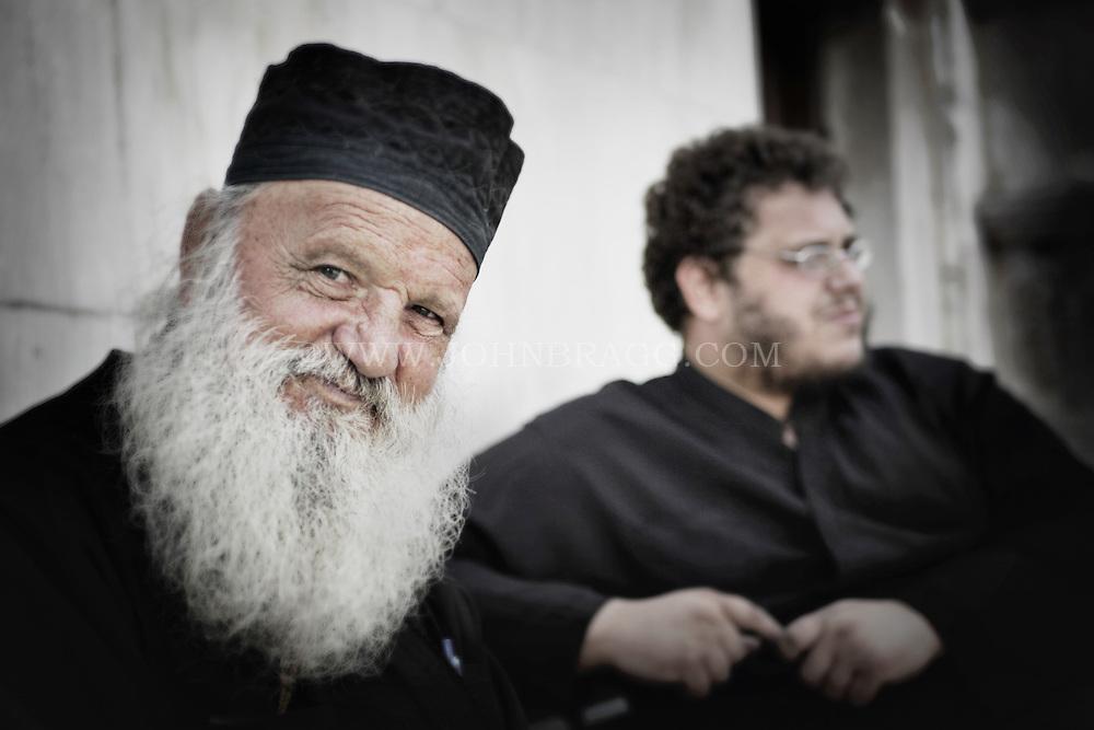 Two priests in Mykonos, Greece