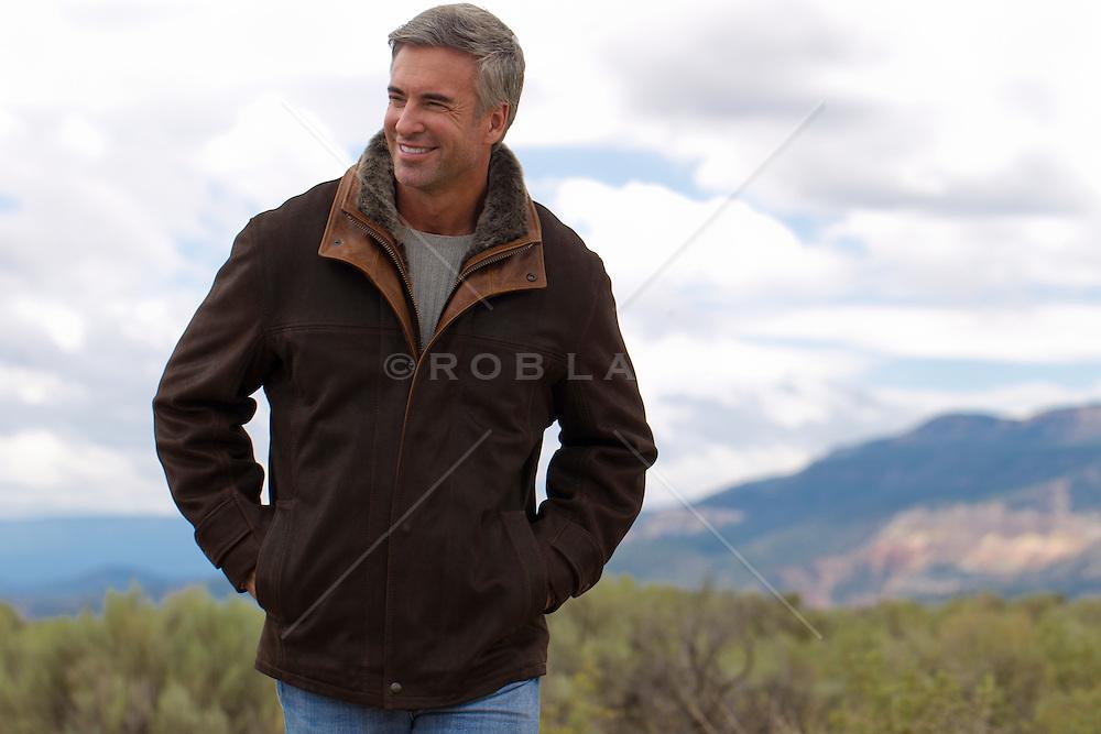 man enjoying a walk in Abiquiu, New Mexico