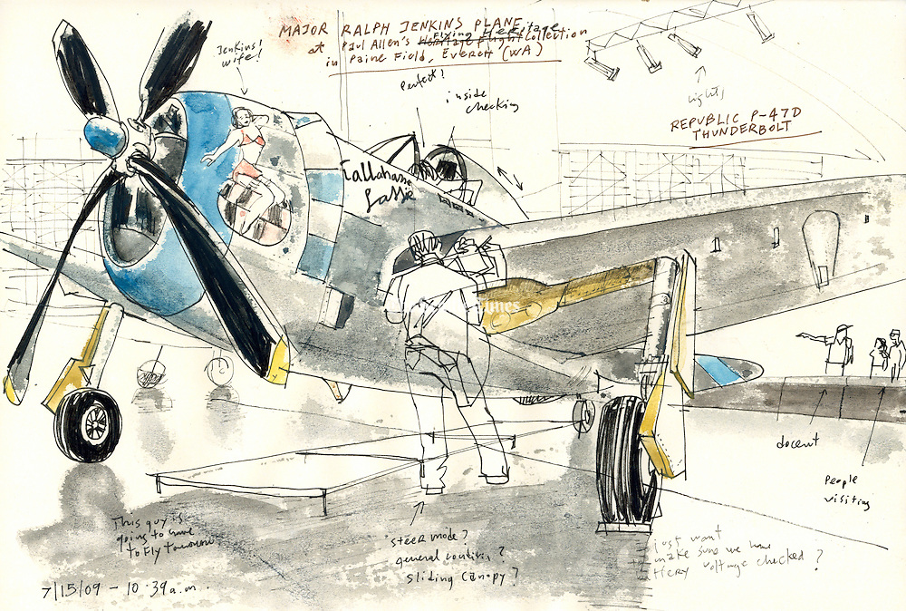 Sketch of a World War II fighter plane from Paul Allen&rsquo;s Flying Heritage Collection. This is a P-47D Thunderbolt, sketched as mechanics were doing flight checks. The plane is painted like the six &ldquo;Tallahassee Lassie&rdquo; Thunderbolts flown during the war. <br /> <br /> Gabriel Campanario / The Seattle Times
