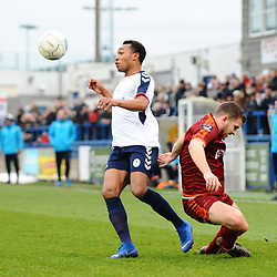 TELFORD COPYRIGHT MIKE SHERIDAN 5/1/2019 - Marcus Dinanga of AFC Telford brushes off Jacob Hibbs during the Vanarama Conference North fixture between AFC Telford United and Spennymoor Town.