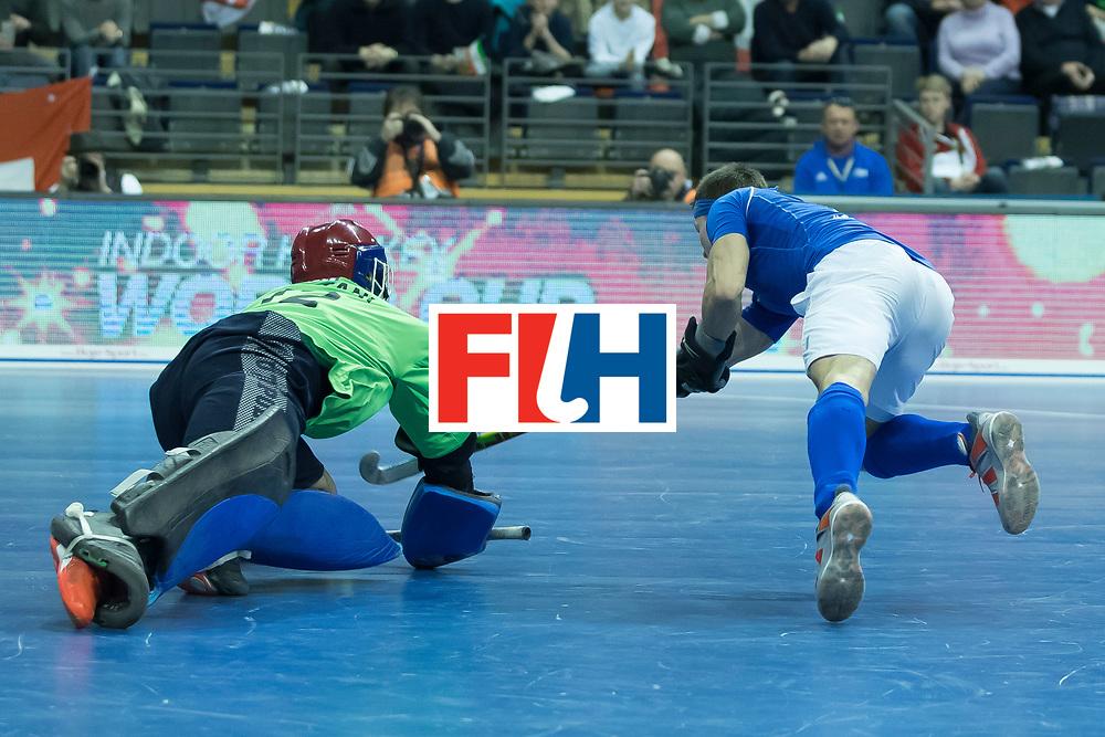 Hockey, Seizoen 2017-2018, 09-02-2018, Berlijn,  Max-Schmelling Halle, WK Zaalhockey 2018 MEN, Iran - Czech Republic 2-2 Iran Wins after shoutouts, Alireza Chazanisharahi (GK)  stops a shoutout from Lukas Plochy.