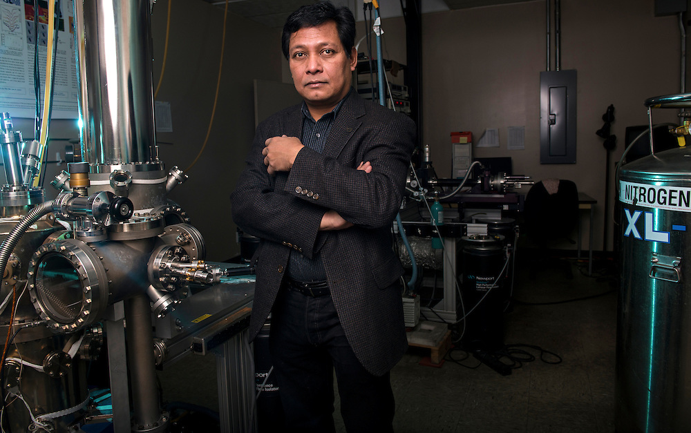 Saw-Wai Hla, Phd, and graduate students in the Ohio University Surface Science Lab on October 1, 2013. Shot on assignment for the Ohio University Department of Physics and Astronomy.