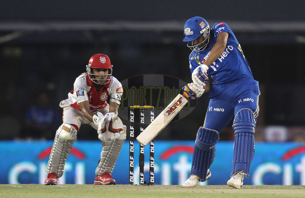 Rohit Sharma of the Mumbai Indians attacks a delivery during match 33 of the the Indian Premier League (IPL) 2012  between The Kings X1 Punjab and The Mumbai Indians held at the Punjab Cricket Association Stadium, Mohali on the 25th April 2012..Photo by Shaun Roy/IPL/SPORTZPICS