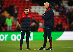 Swansea City caretaker manager Leon Britton talks with a member of his coaching staff - Mandatory by-line: Matt McNulty/JMP - 26/12/2017 - FOOTBALL - Anfield - Liverpool, England - Liverpool v Swansea City - Premier League