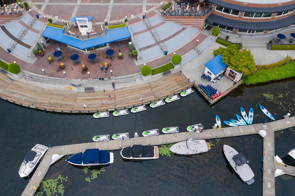 United States, Washington, Kirkland, Carillon Point Marina  (aerial view)