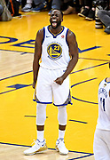May 31, 2018; Oakland, CA, USA; Golden State Warriors forward Draymond Green (23) reacts after a play during the fourth quarter against the Cleveland Cavaliers in game one of the 2018 NBA Finals at Oracle Arena.