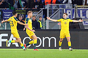 James Forrest celebrates with his teammates after scoring 1-1 goal during the UEFA Europa League, Group E football match between SS Lazio and Celtic FC on November 7, 2019 at Stadio Olimpico in Rome, Italy - Photo Federico Proietti / ProSportsImages / DPPI