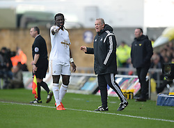 Swansea City Manager Alan Curtis talks with Bafetibis Gomis of Swansea City in a break in play. - Mandatory byline: Alex James/JMP - 10/01/2016 - FOOTBALL - Kassam Stadium - Oxford, England - Oxford United v Swansea City - FA Cup Third Round