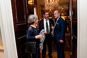 Lady Falconer; Charles Falconer, Baron Falconer of Thoroton; David Campbell, David Campbell and Knopf host the 20th Anniversary of the revival of Everyman's Library. Spencer House. St. James's Place. London. 7 July 2011. <br /> <br />  , -DO NOT ARCHIVE-© Copyright Photograph by Dafydd Jones. 248 Clapham Rd. London SW9 0PZ. Tel 0207 820 0771. www.dafjones.com.