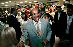 May 10th, 2006. New Orleans, Louisiana. Mayor Ray Nagin greets constituents after the debate with Lieutenant Governor Mitch Landrieu at a mayoral debate at the Audubon Institute Riverside association at the Sabis Academy Charter school in Uptown New Orleans.<br /> Photo; Charlie Varley/varleypix.com