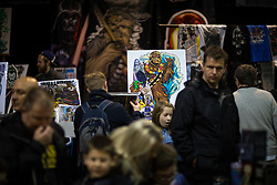 "© Licensed to London News Pictures . 06/12/2015 . Manchester , UK . Fan art for sale . Fans attend Star Wars exhibition "" For the Love of the Force "" at Bowlers Exhibition Centre in Manchester . Photo credit : Joel Goodman/LNP"