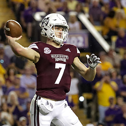 Oct 20, 2018; Baton Rouge, LA, USA; Mississippi State Bulldogs quarterback Nick Fitzgerald (7) throws against the LSU Tigers during the first quarter at Tiger Stadium. Mandatory Credit: Derick E. Hingle-USA TODAY Sports