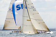 Wright on White KZ 3, 12 Meter Class, racing in the Valencia 12 Metre Regatta.