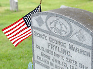 The grave of Sgt. George Warren Fryling, who was killed in action in France during World War I at age 29 is adorned with an american flag Sunday May 22, 2016 at St. Luke's Cemetery in Dublin, Pennsylvania. (Photo by William Thomas Cain)