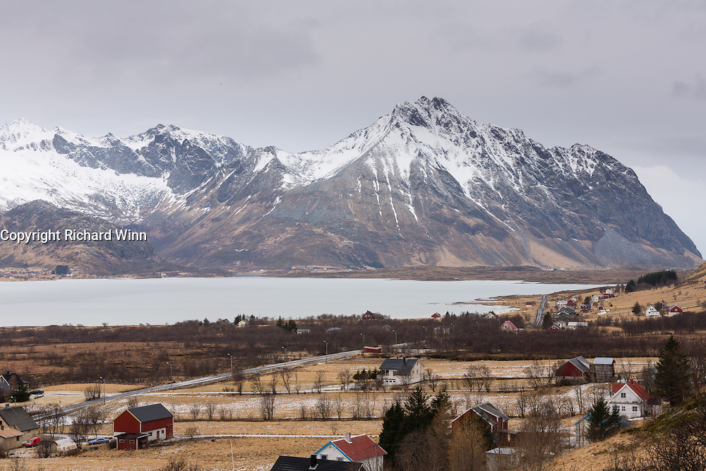 View of Vestvågøya, one of the larger Lofoten Islands, near to the town of Borg.