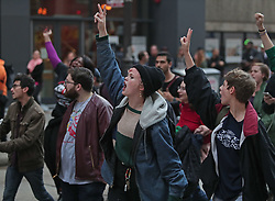 October 5, 2018 - Chicago, Illinois, U.S - Hundreds of demonstrators shut down Chicago streets after the verdict found Chicago police officer Jason Van Dyke guilty of second-degree murder in the 2014 shooting of 17-year-old Laquan McDonald. (Credit Image: © Wes Hight/ZUMA Wire)