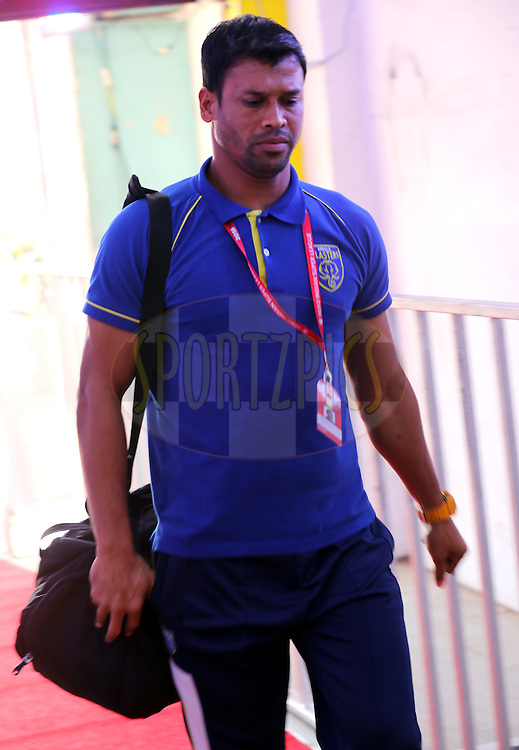 Kerala Blasters FC goalkeeper Sandip Nandy arrives for the match 9 of the Indian Super League (ISL) season 3 between Kerala Blasters FC and Delhi Dynamos FC held at the Jawaharlal Nehru Stadium in Kochi, India on the 9th October 2016.<br /> <br /> Photo by Sandeep Shetty / ISL/ SPORTZPICS
