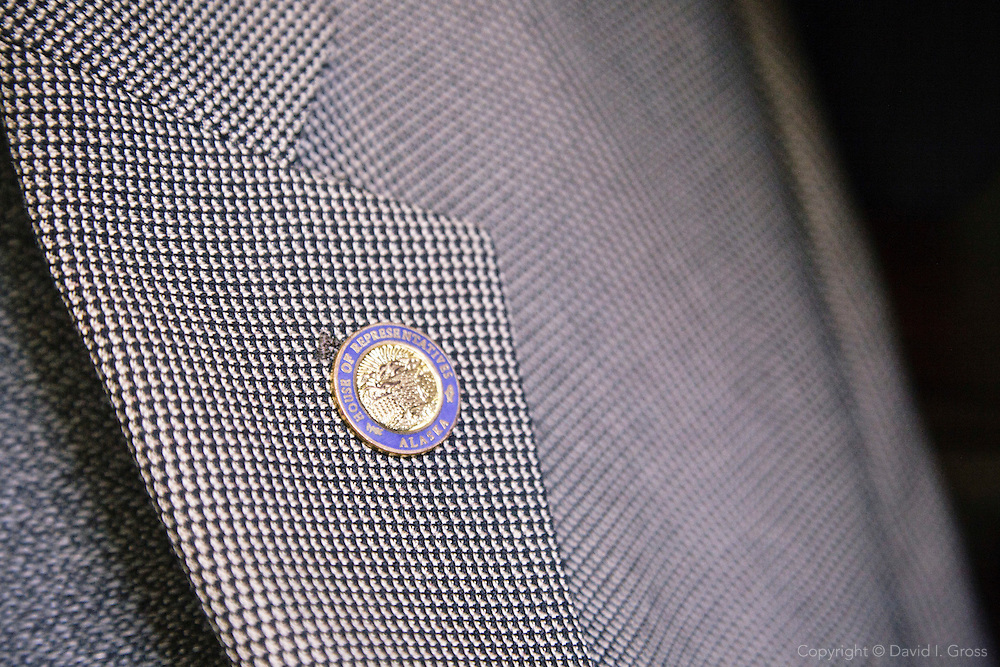 A lapel pin for the Alaska House of Representatives on Rep. Democratic Rep. Chris Tuck's lapel.