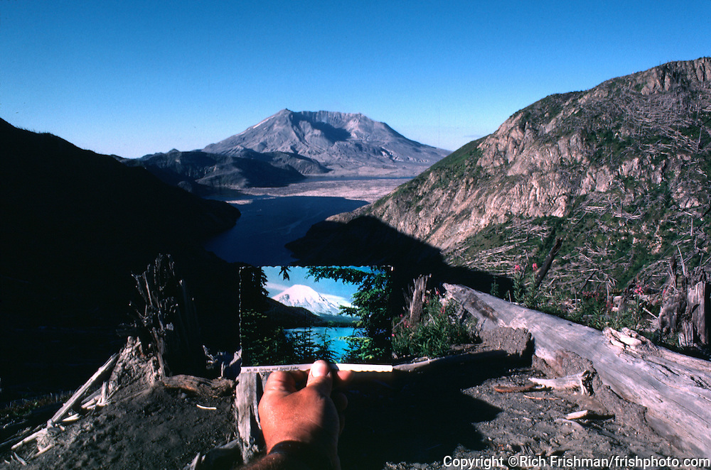 Photograph showing Norway Pass and Mount St Helens before and after the volcanic eruption of May 1980..©Rich Frishman.
