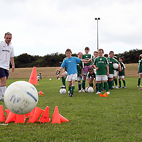 Sam O' Connell tries to knock all the skittles at the Moneypoint F.C F.A.I summer soccer camp in Kilrush during the week.<br /><br /><br /><br />Photograph by Yvonne Vaughan.