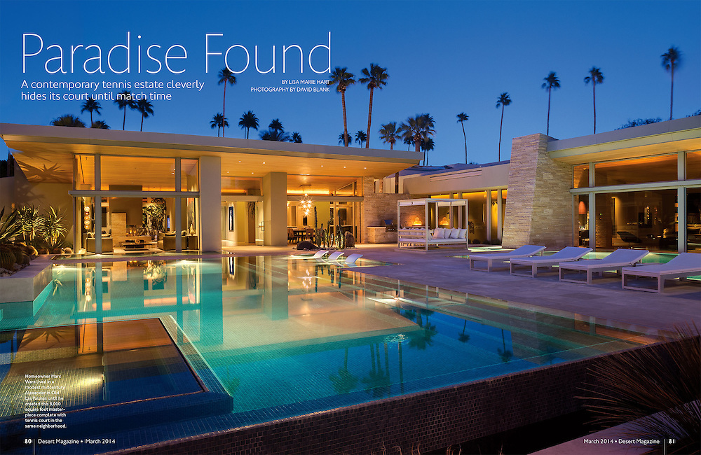 Feature article in Desert Magazine about Marc Ware's tennis estate in Old Las Palmas area of Palm Springs.