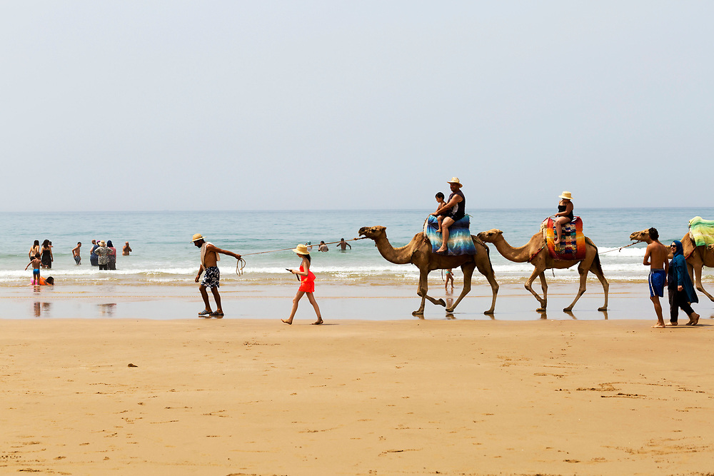 Tourists ride camels at the 'Paradise Beach,' Asilah, Morocco, 2015-08-09.<br /><br />Paradise may be somewhat of an over statement, but the beach 2km south of Asilah is worth a visit. <br /><br />Collective taxis run back and forth throughout the day from nearby the Banque Populaire in the centre of Asilah and return back to town from the beach around sunset. <br /><br />Sharing a collective taxi is an interesting adventure in itself, as you pass by unspoilt areas of Morocco's rugged coastline. <br /><br />Known locally as 'Rmilate', the beach is packed full of tourists during the summer months and is best visited off season, when you can expect to have a large space to yourself. <br /><br />Numerous cabin hut restaurants line the base of the cliffs enclosing the beach, serving up freshly grilled sardines, moroccan salads and fish tagines.<br /><br />This beach is much more clean and wild than the main beach strip adjacent to the main town of Asilah. It's worth taking the short collective taxi ride out to this beach when seeking a day out by the seaside rather than camping on the main Asilah beach.