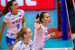 23-08-2017 NED: World Qualifications Greece - Slovenia, Rotterdam<br /> SloveniÎ wint met 3-0 / Sasa Planinsec #18 of Slovenia, Iza Mlakar #9 of Slovenia<br /> Photo by Ronald Hoogendoorn / Sportida