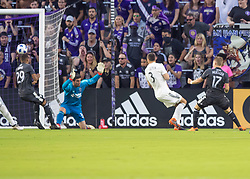 April 21, 2018 - Orlando, FL, U.S. - ORLANDO, FL - APRIL 21: Orlando City forward Chris Mueller (17) scores a goal in the opening minutes during the MLS soccer match between the Orlando City FC and the San Jose Earthquakes at Orlando City SC on April 21, 2018 at Orlando City Stadium in Orlando, FL. (Photo by Andrew Bershaw/Icon Sportswire) (Credit Image: © Andrew Bershaw/Icon SMI via ZUMA Press)