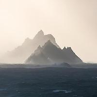 Skellig Michael and Little Skellig during Hurricane Ophelia along the Skellig Coast, County Kerry, Ireland