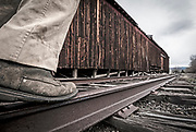 Walking railroad tracks, Wallowa Valley, Oregon.