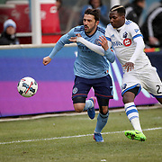 NEW YORK, NEW YORK - March 18: David Villa #7 of New York City FC challenges Ambroise Oyongo #2 of Montreal Impact during the New York City FC Vs Montreal Impact regular season MLS game at Yankee Stadium on March 18, 2017 in New York City. (Photo by Tim Clayton/Corbis via Getty Images)