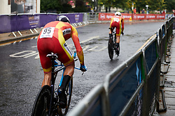 Spain speeding through the rain at UCI Road World Championships 2019 Mixed Relay a 27.6 km team time trial in Harrogate, United Kingdom on September 22, 2019. Photo by Sean Robinson/velofocus.com
