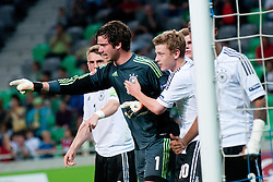 Players of Germany celebrate a big save of penalty shot by Oliver Schnitzler of Germany during the UEFA European Under-17 Championship Group A match between Germany and France on May 10, 2012 in SRC Stozice, Ljubljana, Slovenia. Germany defeated France 3:0. (Photo by Matic Klansek Velej / Sportida.com)