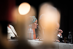 "29 October 2018, Uppsala, Sweden: Amina Mohammed speaks during plenary on ""The role of faith based actors in achieving the 2030 Agenda for Sustainable Development"". The session included speeches by Amina Mohammed, Deputy Secretary General of the United Nations, Carin Jämtin, Director General of Swedish International Development Cooperation Agency, and Swedish deputy Prime Minister Isabella Löwin. Rev. Dr Martin Junge, General Secretary of the Lutheran World Federation moderated the session."