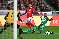 February 3, 2018 - Lisbon, Portugal - Benfica's Portuguese defender Andre Almeida vies with Rio Ave's defender Marcao (R ) during the Portuguese League football match SL Benfica vs Rio Ave FC at the Luz stadium in Lisbon on February 3, 2018. (Credit Image: © Pedro Fiuza/NurPhoto via ZUMA Press)
