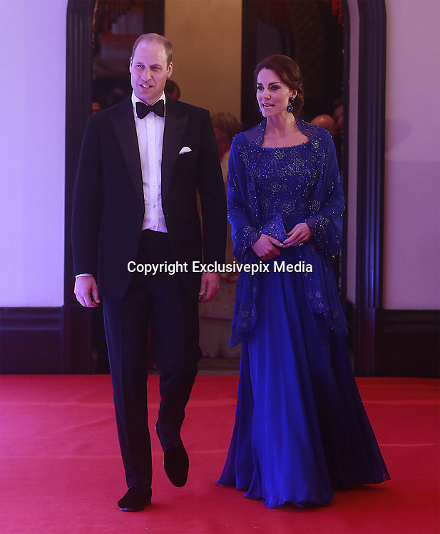 April 10, 2016 - Mumbai, INDIA - <br /> <br /> Britain's Prince William, along with Kate, the Duchess of Cambridge arrive for a charity ball at the Taj Mahal Palace hotel in Mumbai, India, Sunday, April 10, 2016. The royal couple began their weeklong visit to India and Bhutan, by laying a wreath at a memorial Sunday at Mumbai iconic Taj Mahal Palace hotel, where 31 victims of the 2008 Mumbai terrorist attacks were killed. <br /> ©Exclusivepix Media