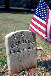 "Grave of an unknown Union solider in the Confederate Cemetery, head stone reads ""U.S.A. Unknown Union Soldier"", Appomattox Court House National Historical Park, Appomattox, Virginia."