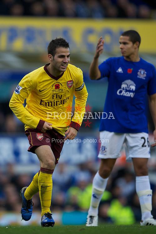 LIVERPOOL, ENGLAND - Sunday, November 14, 2010: Arsenal's captain Cesc Fabregas celebrates scoring the second goal against Everton during the Premiership match at Goodison Park. (Photo by: David Rawcliffe/Propaganda)