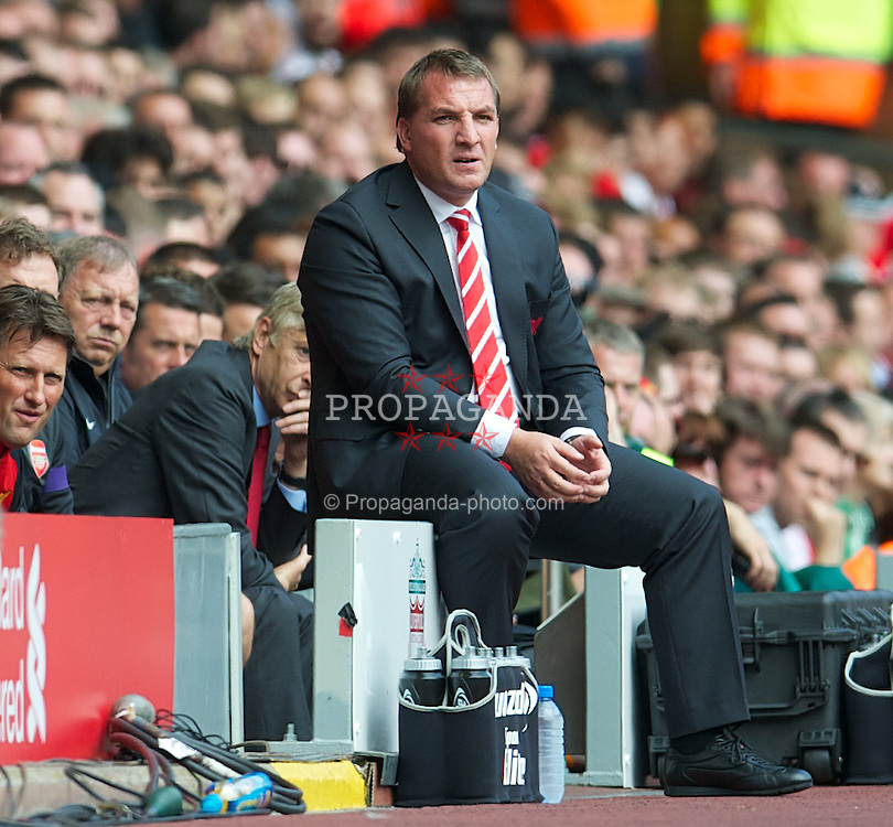 LIVERPOOL, ENGLAND - Sunday September 2, 2012: Liverpool's manager Brendan Rodgers during the Premiership match against Arsenal at Anfield. (Pic by David Rawcliffe/Propaganda)