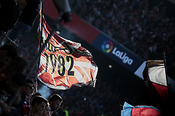 March 9, 2019 - Madrid, Madrid, Spain - Atletico de Madrid's fans waving a flag during La Liga match between Atletico de Madrid and CD Leganes at Wanda Metropolitano stadium in Madrid. (Credit Image: © Legan P. Mace/SOPA Images via ZUMA Wire)