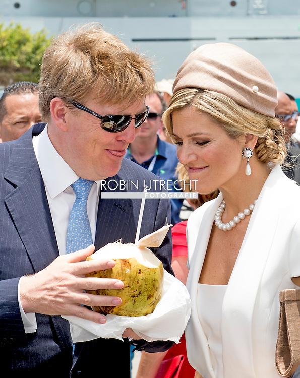 1-5-2015 ARUBA - King Willem-Alexander and Queen Maxima of The Netherlands visits Sail Aruba on 1-5-2015 COPYRIGHT Robin Utrecht