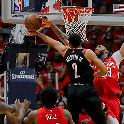 Apr 21, 2018; New Orleans, LA, USA; New Orleans Pelicans forward Anthony Davis (23) blocks a shot by Portland Trail Blazers guard Wade Baldwin IV (2) during the first quarter in game four of the first round of the 2018 NBA Playoffs at the Smoothie King Center. Mandatory Credit: Derick E. Hingle-USA TODAY Sports