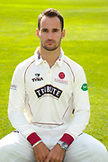 County Championship kit portrait of Lewis Gregory during the Somerset County Cricket Club PhotoCall 2017 at the Cooper Associates County Ground, Taunton, United Kingdom on 5 April 2017. Photo by Graham Hunt.