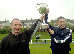 Super League success for Westport Utd managers Kevin Cusack and Padraig Burns...Photograph Conor McKeown