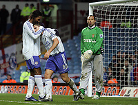 Photo: Paul Thomas.<br /> Aston Villa v Chelsea. The Barclays Premiership. 02/01/2007.<br /> <br /> Frank Lampard (8) of Chelsea is consoed by team-mate Didier Drogba after missing a chance to score in injury time over the cross bar.