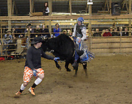 Jason Moore held on to collect 76 points during the rodeo at Fox Hollow Stables in Waynesville, Saturday, March 3rd.